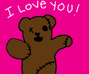 giant stitched teddy bear loves you