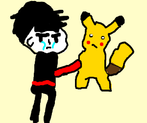 Crying goth punches Pikachu
