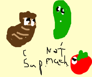 steak says hi to cucumber while tomato watches
