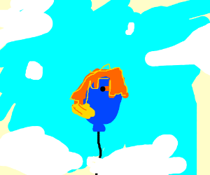 cute Firefox hanging on flying baloon