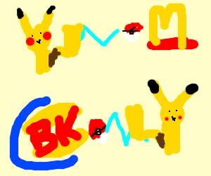 Mcdonalds and burger king choose pikachu
