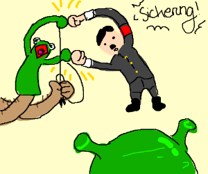 kermit fusing with hitler while shrek watches