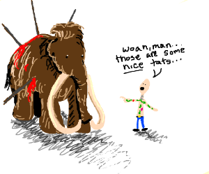 a guy tells wooly mammoth he has 'nice tats'