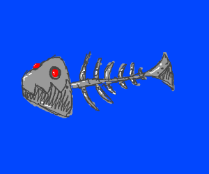 a metal fish bone with red eyes