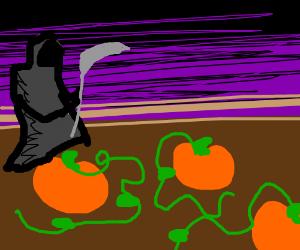 death (grim reaper) harvesting pumpkins