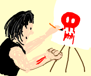 person painting a red skull with blood