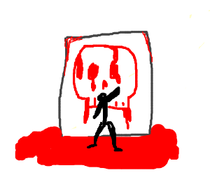 Stick Man paints with the blood of his enemies