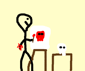 A man painting a skull using blood.