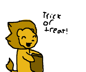Lion goes trick or treating
