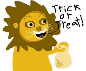 Lion says 'trick or treat!' while holding bag