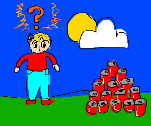 Fat man is confused at all of his cans