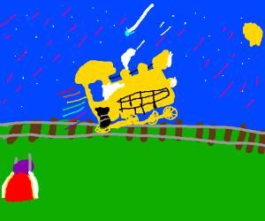 Gleefully watching a train take flight