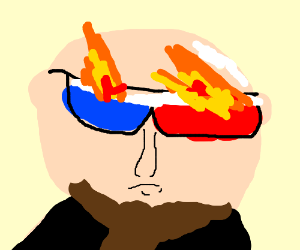 Bearded bald man wears fiery 3D glasses