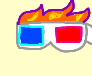 his 3D glasses are like my mixtape, ON FIRE!