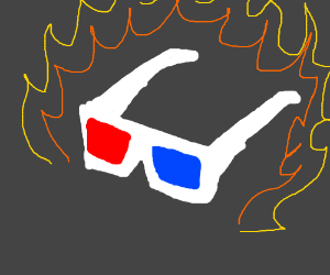 3D glasses on fire