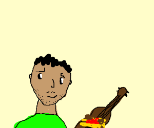 Hispanic-looking guy noodles on guitar