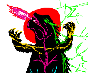 a neon looking Godzilla with Japan flag