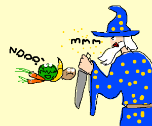 "Salad: ""Please don't eat me wizard"""