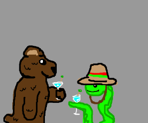 Bear, snake in sombrero have cocktails