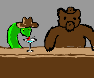 Bear and snake with cowboy hat drink martinis