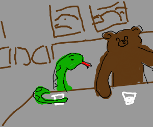A snake and a bear having drinks in a saloon
