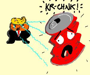 Trump crushes a Coke can