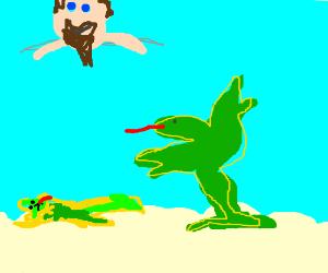 green and yellow lizard fighting in heaven