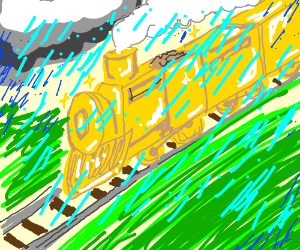 Golden train in the rain