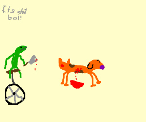unicycle frog, dog, cat, knife fight