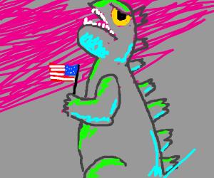 Godzilla in eerie lighting is patriotic