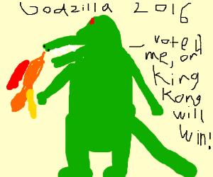 Godzilla threatens you to vote for him