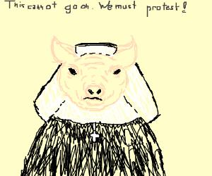 A protesting pig nun