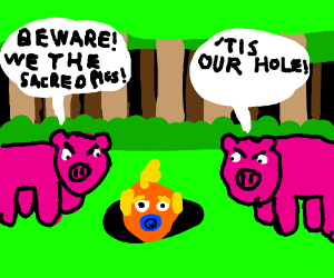 Baby Trump goes in hole of sacred pigs