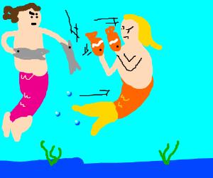 """Mermen in a """"fisht"""" fight hehe get it?"""