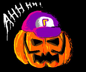 Screaming waluigi pumpkin
