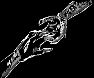 Hands grasp towards each other in the darkness