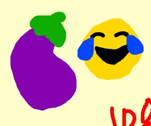 eggplant emoji followed by happy crying emoji