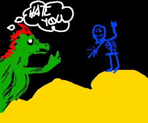 Green dragon hates blue skeleton