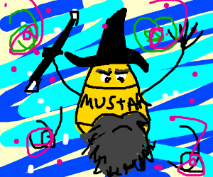wizard with a bottle of mustard as a familiar