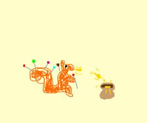 Pincushion squirrel spits yellow liquid