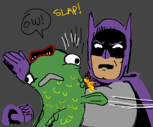 Batman whaps a fishy boomerang