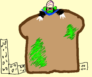 Giant moldy toast piloted by mojo-jojo