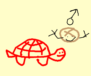 A red turtle with a manbun