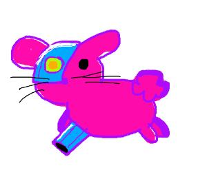 Cute Pink Cyborg Bunny