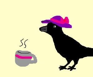fancy raven having tea