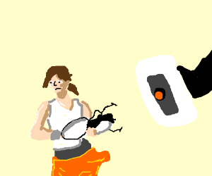 GLaDOS stares at Chell and her Portal Gun