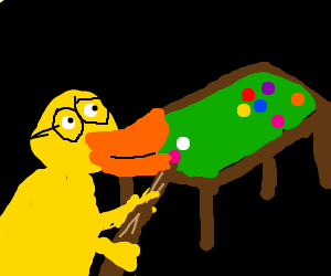 Near-sighted duck plays billards