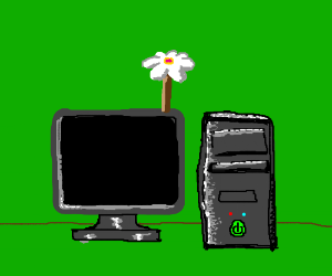 Flower Growing on a Computer.