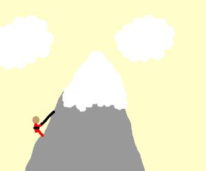 Guy Climbs Mountain or pile of rocks