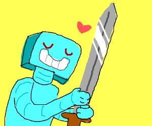 Blue Robot loves his long sword